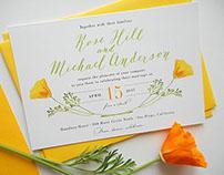 California Poppy Calligraphy Wedding Invitation Suite