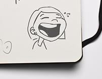 Fifteen doodles of me