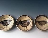 Sgraffito Bird Bowls