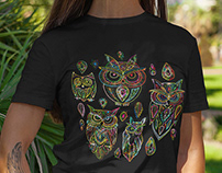 Funny Owls. Vector Art in different colors
