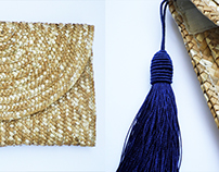 DECORATED STRAW CLUTCHES