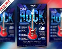 Free PSD : Rock Music Event Flyer PSD Template