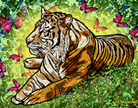 Tiger with Butterflies