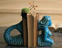 Sea Blues Mermaid Bookends