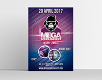 Mega Scholenfeest logo and poster