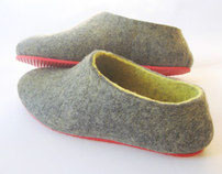 Red Sole Felted wool Slip on Shoes Gray Yellow. Women's