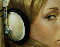 Girl with a pearl set of headphones.