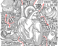 Annotated Typographic Healthy Heart Drawing