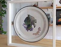 """Tropical Bondage"", analogue collage on pewter."