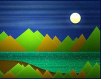 Night Mountains Landscape