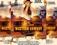 Western Cowboy Dances Flyer - Western PSD Template