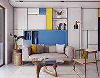 Piet Mondrian-inspired Living Room
