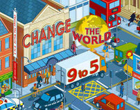 Change The World 9 to 5 Book Cover Illustration