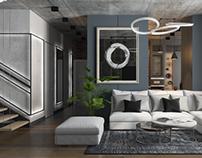 Apartment interior design - minimalism and loft