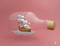 Ship in a bottle: 3D