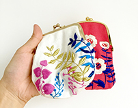 2 Handmade Embroidered Purses