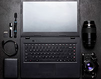 Mockup laptop, camera and lense.Tools of photographer