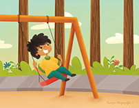 A Cute Boy Playing On Swing Illustration