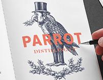 Parrot Distilling Brandmark Illustrated by Steven Noble