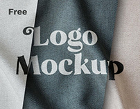 Free Fabric Print Effect Logo Mockup