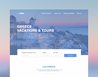 Landing page for Greece Tour company.