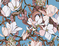 Pattern Magnolias and Snakes