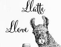 Llama Llatte Greeting Cards