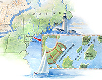 Maine State Map Watercolor Painting