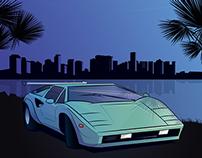 Lamborghini Countach skyline Miami