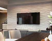 Гипсовые 3D панели Alivio серии Welle в интерьере
