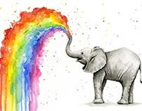 Baby Elephant Spraying