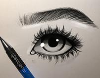 Eye sketch, edited in photoshop
