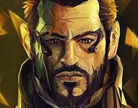 Deus ex poly (lowpoly illustration) step by step