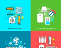 Heating, Ventilation and Conditioning Flat Icons