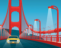 San Francisco California Travel Poster Illustration
