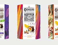 Серия упаковок шоколадных конфет с марципаном Grondard