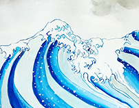 Watercolor Snowboard Design Inspired by Hokusai