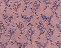Swallows textile print