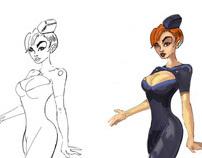 Stewardess Character Design