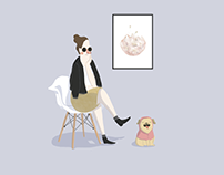 Girl with Pug. | Chica con pug.