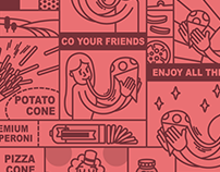Cone Pizza Brand Illustration.