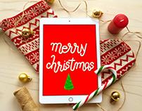 Merry christmas greeting cards and ipad mockups