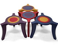 Blue, purple, red and yellow coffee tables, set of four