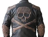 Biker Reinforced Vintage Distressed Brown with Skull