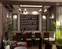 Interior design of a restaurant
