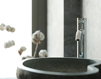 Concrete bathroom - CGI