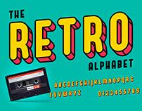 Colorful retro font and alphabet.