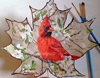 Creative Painting on Leaf Cardinal Bird