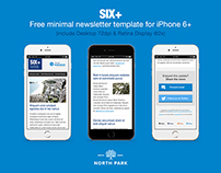 SIX+ free  minimal newsletter PSD template for iPhone6+