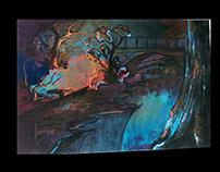 background animation gouache colors & pens